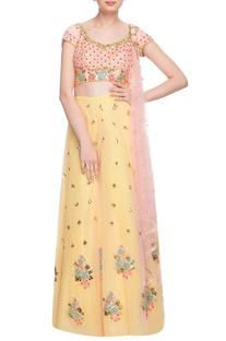 Pastel yellow & peach embellished lehenga set