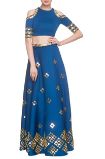 Electric blue lehenga with cold-shoulder blouse & belt