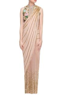 Beige sari & embroidered jacket choli