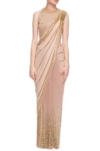 Beige sari & faun embellished blouse