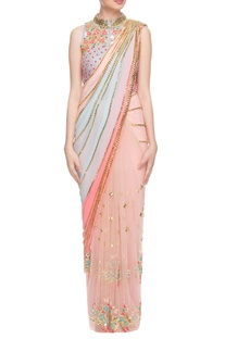 Pastel sari with vista blue embellished jacket choli