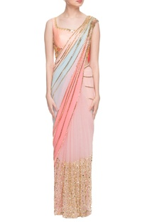 Pastel embellished sari with peach blouse