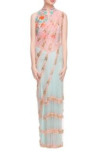 Pink & sky blue sari with baby pink jacket choli