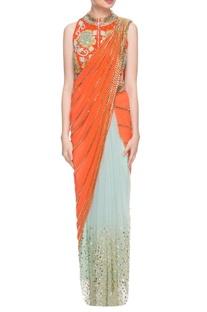 Orange & sky blue sari with embellished jacket choli