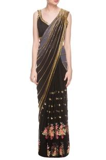 Black embellished sari & blouse