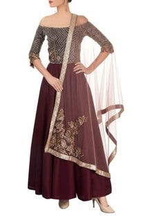 Wine off-shoulder anarkali with dupatta & churidar
