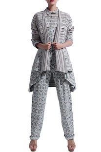 Black & grey printed long jacket