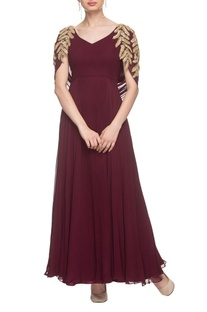 Wine gown with drape detailing