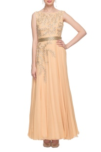 Peach zardozi embroidered gown