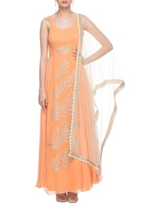 Orange embroidered gown with dupatta
