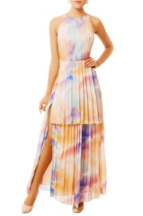 Multi-colored gown with high slit