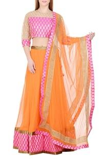 Orange & pink lehenga set with brocade work