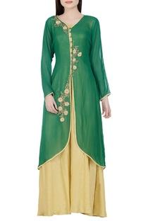 Dark green & beige sequined kurta with inner