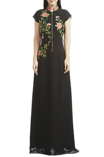 Black floral thread embroidered gown