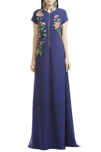Blue floral thread embroidered gown