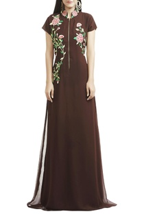 Brown floral thread embroidered gown