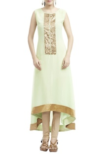 Mint green & gold sequined kurta with leggings