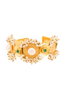 Gold plated cuff with green onyx & pearls