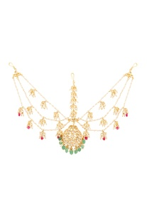 Gold plated mathapatti with semi-precious stones & pearls