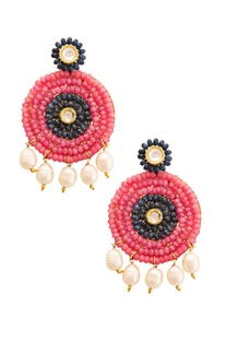 Gold plated earrings with rose pink & deep blue stones