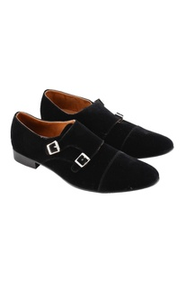 Jet black monk strap shoes