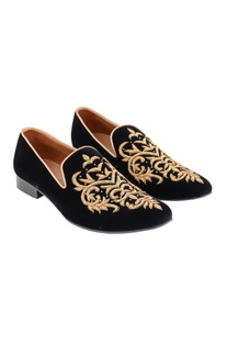 Black zardozi embroidered loafers