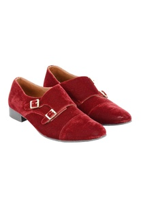 Red monk strap shoes