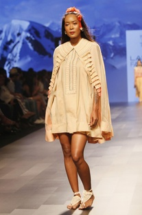 Ivory embroidered dress with cape
