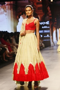 Red and Beige embroidered lehenga set