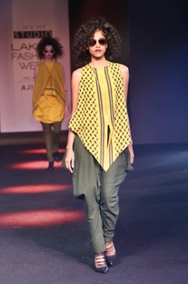 Yellow embroidered asymmetric top