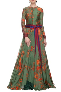Moss green floral gown with a waist band