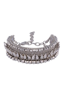 Silver plated bracelet with spikes & chain detail