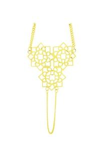 Gold floral hand cut ring bracelet