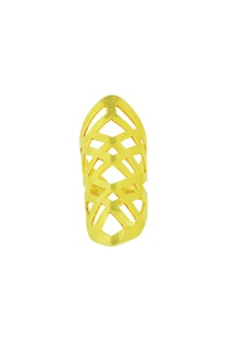 Gold plated long ring with hand cutwork
