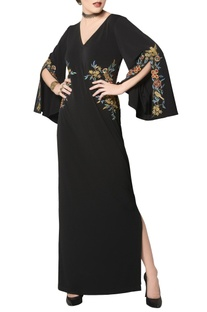 Black gown with multi-colored zari embroidery