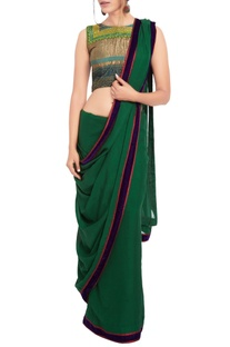 Bottle green sari & multi-colored embroidered blouse