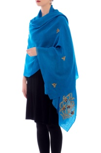 Firozi embroidered cashmere stole