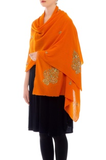 Orange embroidered cashmere stole