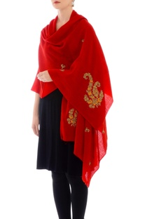 Scarlet red gota work cashmere stole