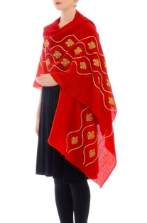 Red embroidered cashmere stole