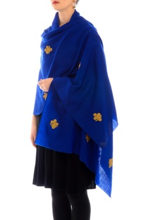 Royal blue dori work cashmere stole