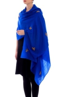 Royal blue resham work cashmere stole