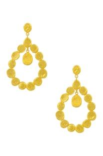 Gold plated beaten dangler earrings