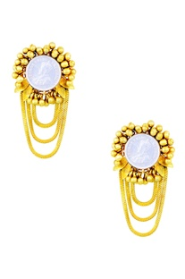 Gold plated earrings with vintage coin & ghungroos