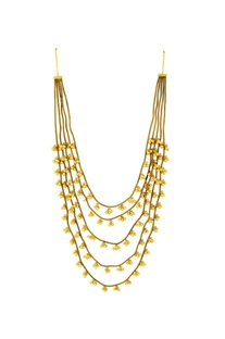 Gold plated layered necklace with ghungroos