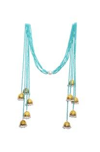 Mint blue beaded long jhumka tassel necklace