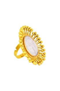 Gold plated spiked ring with vintage coin