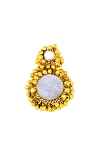 Gold plated two-finger ring with ghungroos & pearl