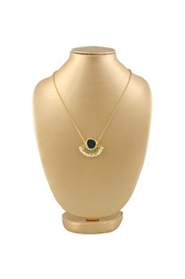 Gold plated necklace with grey semi-precious stone