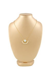 Gold plated necklace with white semi-precious stone